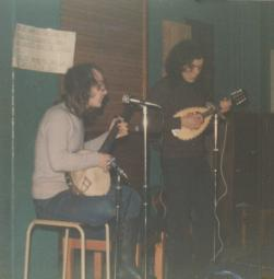 Wildgust at Worcester College, c. 1976. Me on the left on banjo, Dick Langford playing mandolin on the right